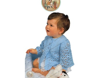 Lacy Matinee Coat and Angel Top for Baby - Vintage Crochet Pattern - PDF - PrettyPatternsPlease