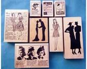 Victorian Vintage Style Ladies Rubber Stamp Set of 8