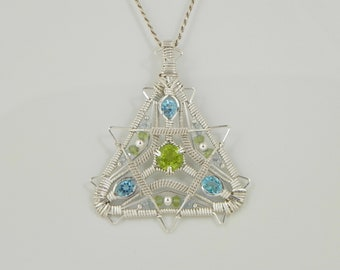 Faceted Peridot and Swiss Blue Topaz Sterling Argentium Silver Wire Wrap Pendant