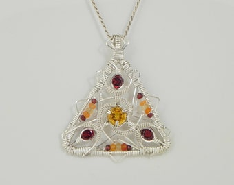 Faceted Citrine and Garnet Sterling Argentium Silver Wire Wrap Pendant
