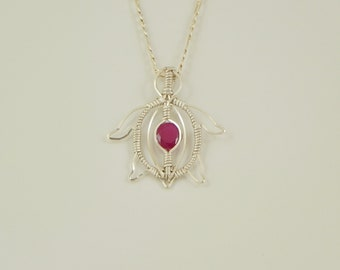 Faceted Ruby Turtle Wire Wrap Pendant