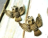 Pendant owl 2 pc old gold