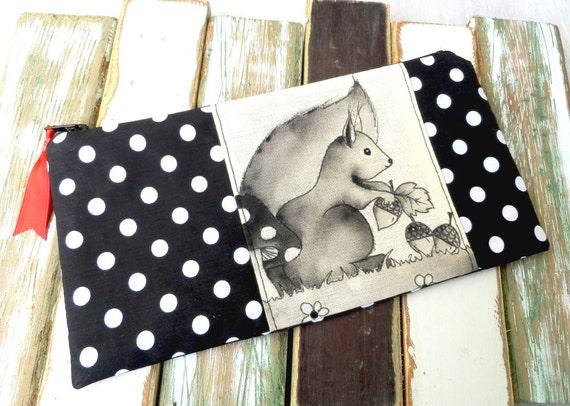 Pencil case - Squirrell - Black Polkadot