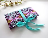 Jewelry Roll | Design Your Own Travel Accessory for Her | Custom Bridesmaid Gift | Plum & Aqua Aviary Fabric Collection | Scrollwork Plum
