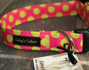 "Bright Pink and Green Polka Dot Dog Collar ""The Polka in Pink"" Dog Collar"