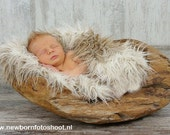 "Newborn Baby Boy or Girl Curly Mongolian 3"" Pile Faux Fur Blanket in Two colors Tan and Off White, Great for photo prop"
