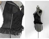 1970s Vintage Black Bustier/Garter/Fishnet Lace / Nan Flower