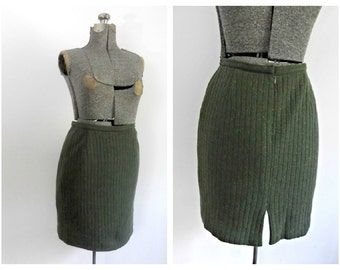 Burberrys Sweater Pencil Skirt Vintage 1960s Green Knit Wool Blend