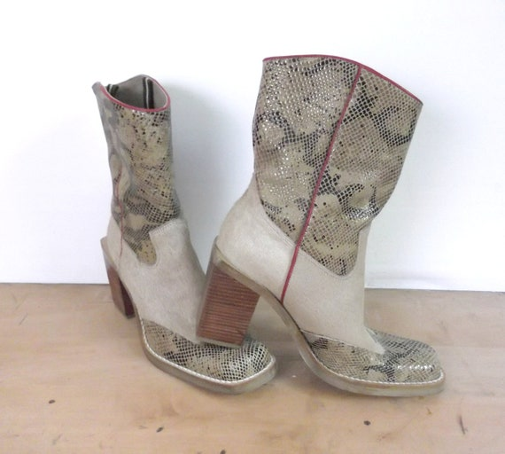 Vintage Chunky Heel Cowboy Boots Pony Fur / Snakeskin Women Size 7.5