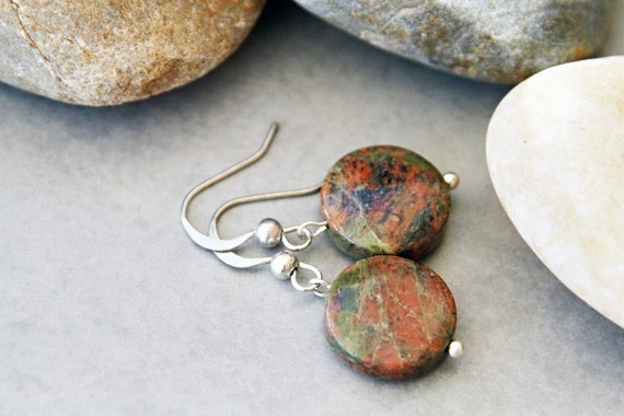 Special Speckles -  Rusty Red and Green Unakite Earrings