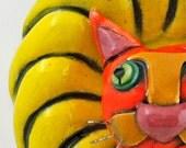 Wall Sculpture: Cat, Wall Flower Orange Tabby Cat Ceramic Tile 3-Dimensional