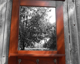 Free Shipping Large entrmirror with shelf and 3  hooks 26 high x 22 wide.. 3 inch top frame