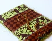 Kindle, Kindle Fire or Nook Cover - Olive Green and Chocolate Brown Damask and Checkers