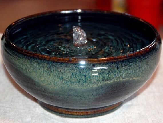 "Ceramic Cat Fountain, Handmade, Foodsafe - ""Mahogany Rose Blue II"" - 9 Plus Inch Diameter"