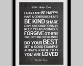 Personalized Inspiring Life Words Print for kids. Large poster printsize A2.