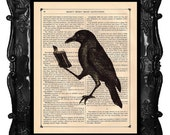 Halloween Raven Crow reading book Animal Natural History - Vintage Victorian Book Page Art Print Steampunk