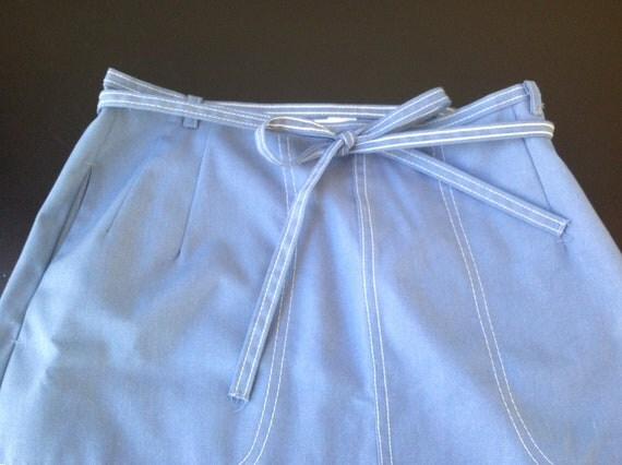 Vintage Light Blue Cotton Wrap Skirt by Koret of California