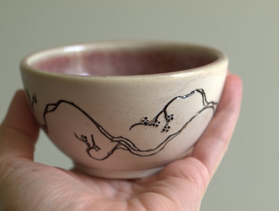 Sweet Porcelain Bowl with Cherry Blossom Detail and pink interior.