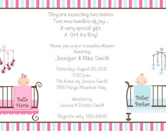 10 Twins Baby Shower Invitations with Envelopes.  Free Return Address Labels