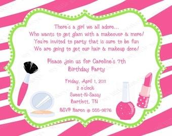 10 Diva Birthday Invitations with Envelopes.  Free Return Address Labels