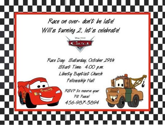 10 cars birthday invitations with envelopes. free return, Birthday invitations