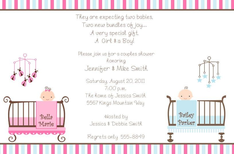 twins baby shower invitations with envelopes. free return, Baby shower invitation