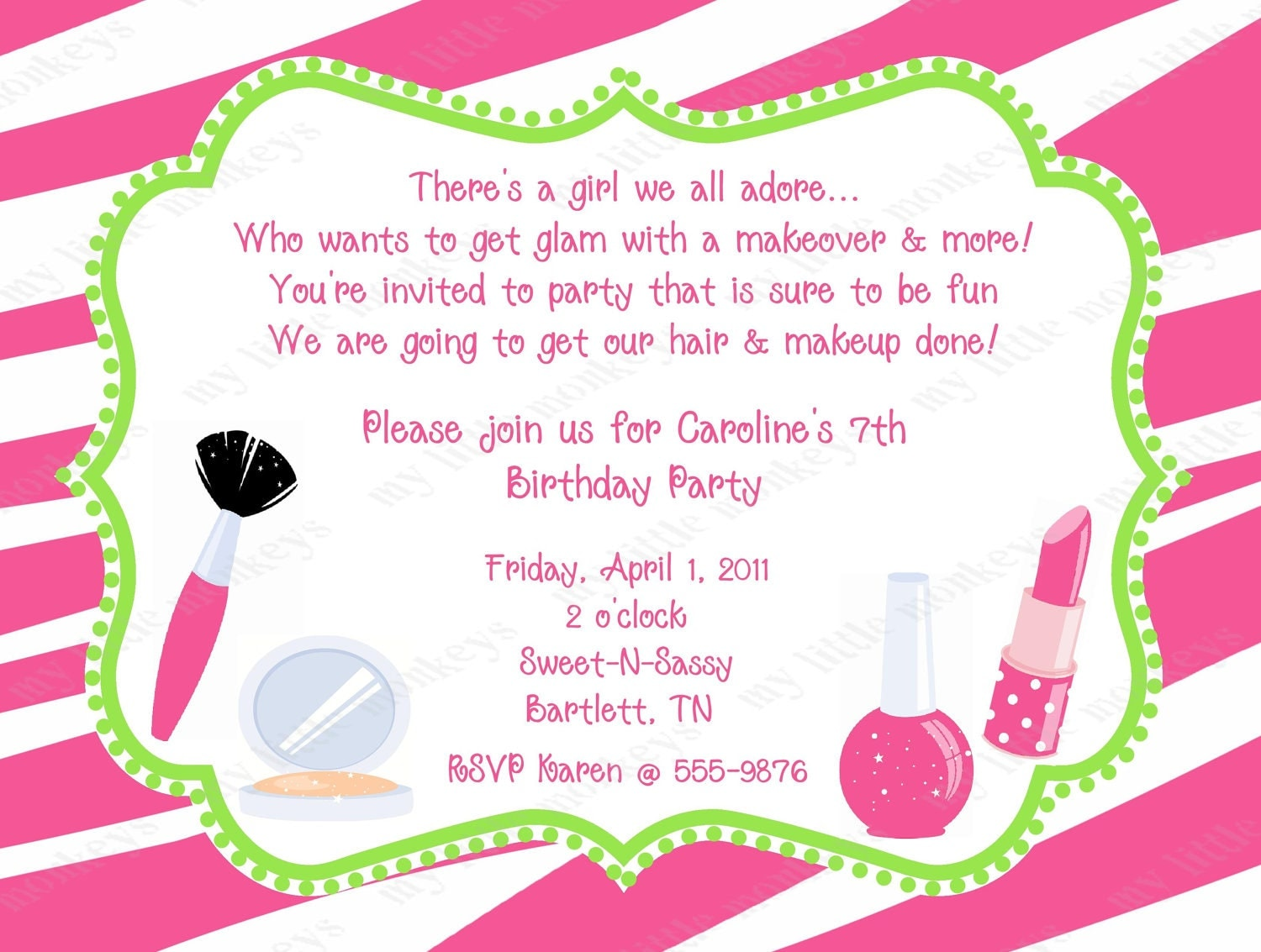 Diva Birthday Invitations With Envelopes Free Return - Birthday invitation rsvp ideas