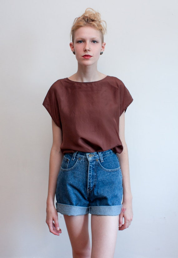 vintage silk top / brown boxy blouse / simple shell / M