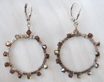 Aurora Borealis Crystal Hoop Earrings