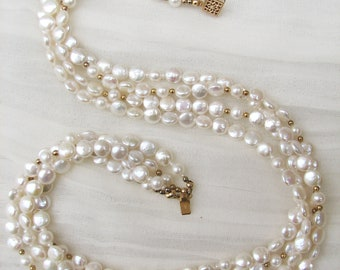 Four Strand Freshwater Button Pearl Necklace
