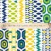 Ikat Digital Paper Patterns, teal, yellow, navy, lime green - Quantity 12