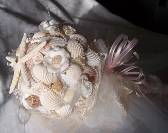 Beach Wedding Bouquet -Seashells with a vintage touch