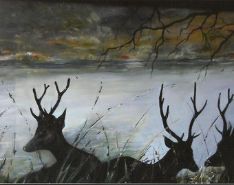 Now on sale  175.00  Deer of Strafford,, Original Oil, 21 inch x 17 inch  large