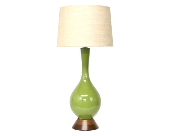 Mid-Century Modern Pottery Lamp in a Pea Green Glaze with Walnut Base and Burlap Shade