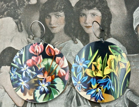 Recycled Upcycled Earrings made from a Vintage Candy Tin Can