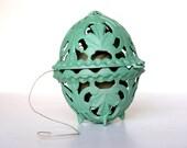 Vintage String Holder Mint Green Aqua Turquoise Blue Metal