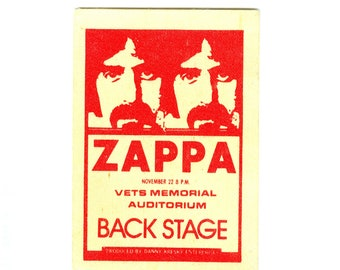 Vintage Frank Zappa Backstage Pass Columbus Ohio Mothers of Invention 1970s-80s Silky Satin