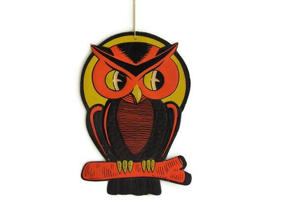 Vintage Halloween Die Cut Owl Embossed Party Decoration Luhrs Orange Black