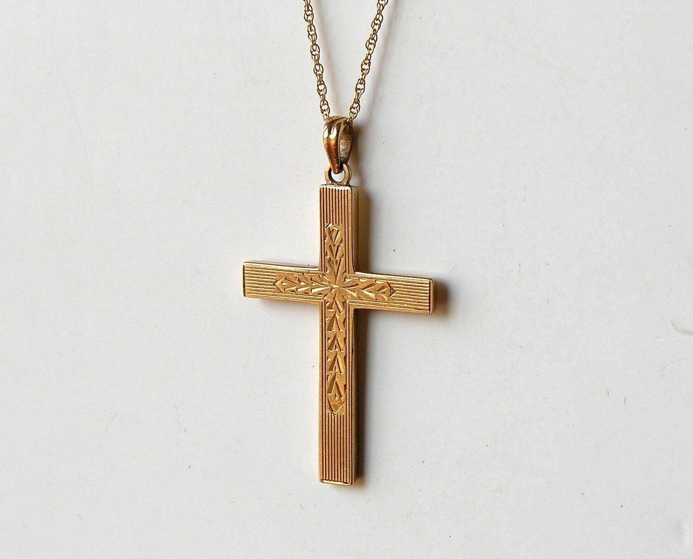 14k Gold Cross Pendant Vintage Necklace Esemco Engraved Art