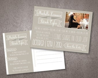 Personalized Save the Date Postcards, Instant Download Invitations or Option for Hardcopy, Custom Wording & Photo, Wedding Bridal Invitation