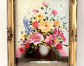 SALE. Vintage Ornate Mid Century Frame. Bright Bouquet Painting
