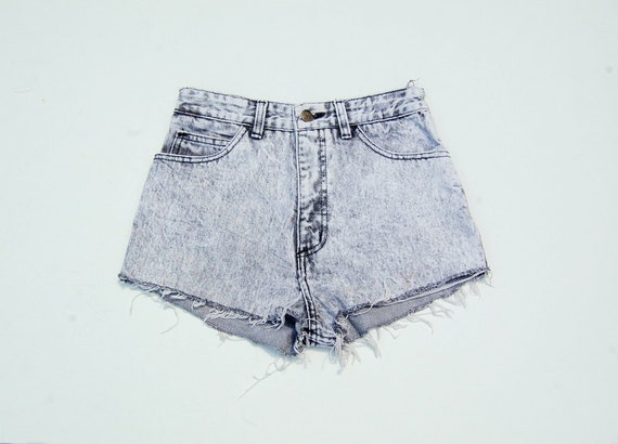Acid wash high waist denim cutoffs