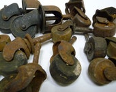 17 wood casters Antique lot Furniture supplies Mixed variety