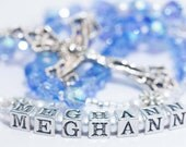 Personalized Confirmation Rosary in Blue Crystal & White Pearls