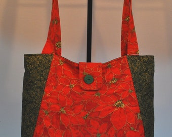 Poinsettia Holiday Quilted Hobo style handbag purse