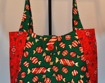 Christmas Candy Starlight mints Print Quilted Hobo style handbag purse