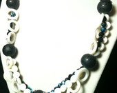 Black Spheres, White Shell Hollow Circles, and Black Czech Glass Woven Necklace by 2CarasCreations