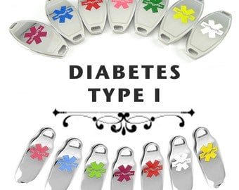 DIABETES TYPE I Medical ID plate Pre-Engraved, for Stylish Beaded Bracelets