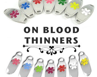 BLOOD THINNERS Medical ID plate Pre-Engraved, for Stylish Medical Beaded Bracelets