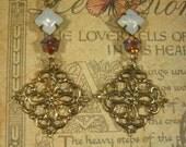Titanic Earrings - Downton Abbey Jewelry - Edwardian Jewelry - Estate Earrings - Assemblage Earrings - Jane Austen Jewelry